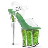 Zelený 20 cm FLAMINGO-808GF třpyt boty na platformě a podpatku