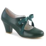 Zelený 6,5 cm WIGGLE-32 Pinup lodičky boty na tlustém podpatku