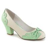 Zelený 6,5 cm retro vintage WIGGLE-17 Pinup lodičky boty na tlustém podpatku