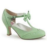 Zelený 7,5 cm retro vintage FLAPPER-11 Pinup lodičky boty s nízkým podpatkem
