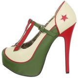 Zelený Bezový 14,5 cm Burlesque TEEZE-43 dámské boty na vysokém podpatku