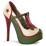Zelený Bezový 14,5 cm TEEZE-43 dámské boty na vysokém podpatku