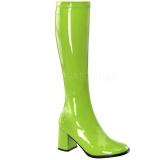 Zelený Lakované 8,5 cm GOGO-300 Dámské Kozačky pro Muže