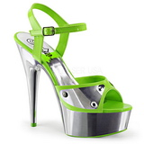 Zelený Neon 15 cm DELIGHT-609NC Sandály Chrom Platformě