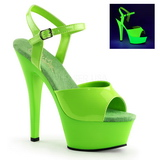 Zelený Neon 15 cm Pleaser KISS-209UV Platformě Vysoké Podpatky