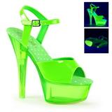 Zelený Neon 15 cm Pleaser KISS-209UVT Platformě Vysoké Podpatky