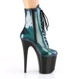 Zelený glitter 20 cm FLAMINGO-1020SHG kotnikové kozačky na podpatku pro tanec na tyči
