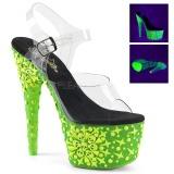 Zelený neon 18 cm Pleaser ADORE-708NSK Boty na podpatku pro tanec na tyči
