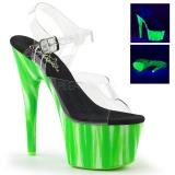 Zelený neon 18 cm Pleaser ADORE-708UVP Boty na podpatku pro tanec na tyči