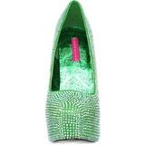 Zelený štrasovými kamínky 14,5 cm Burlesque TEEZE-06R Platformě Lodičky Dámské