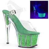 Zelený třpytky 18 cm Pleaser ADORE-708UVG Boty na podpatku pro tanec na tyči