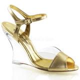 Zlato 10,5 cm LOVELY-442 Dámské Sandály Klínové Podpatku