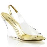 Zlato 10,5 cm LOVELY-450 Klínové Sandály Podpatky