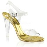 Zlato 11,5 cm CLEARLY-408 Večerní sandály s podpatkem