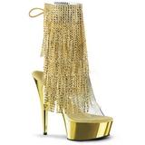 Zlato 15,5 cm DELIGHT-1017RSF Kotníkové Kozačky s třásněmi na podpatku