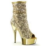 Zlato 15 cm DELIGHT-1008SQ kotnikové kozačky s flitry na podpatku