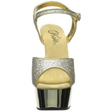 Zlato 15 cm Pleaser DELIGHT-609G Chrom Platformě Vysoké Podpatky