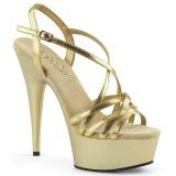 Zlato 15 cm Pleaser DELIGHT-613 Sandály na vysokém podpatku