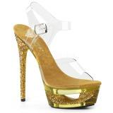 Zlato 16,5 cm ECLIPSE-608GT sandály s jehlovým podpatkem