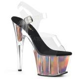 Zlato 18 cm ADORE-708HGI Hologram boty na platformě a podpatku