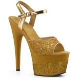 Zlato 18 cm ADORE-709-2G třpyt sandaly na platformě a podpatku