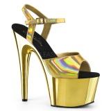 Zlato 18 cm ADORE-709HGCH Hologram boty na platformě a podpatku