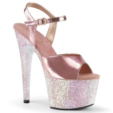 Zlato 18 cm ADORE-709LG boty na vysokém podpatku s platformou glitter