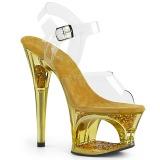 Zlato 18 cm MOON-708GFT třpyt sandaly na platformě a podpatku
