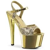 Zlato 18 cm Pleaser SKY-310SQ Flitry boty na vysokém podpatku