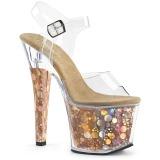 Zlato 18 cm RADIANT-708BHG Hologram boty na platformě a podpatku
