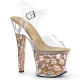 Zlato 18 cm RADIANT-708HHG Hologram boty na platformě a podpatku