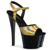 Zlato 18 cm SKY-309HG Hologram boty na platformě a podpatku