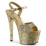 Zlato 18 cm SKY-310LG třpyt boty na platformě a podpatku