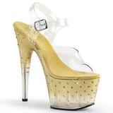 Zlato 18 cm STARDUST-708T Platformě Sandály Podpatky