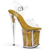 Zlato 20 cm FLAMINGO-808GF třpyt boty na platformě a podpatku