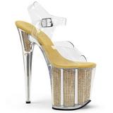 Zlato 20 cm FLAMINGO-808SRS Sandály kamínky Platformě