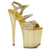 Zlato 20 cm FLAMINGO-874 třpyt sandaly na platformě a podpatku
