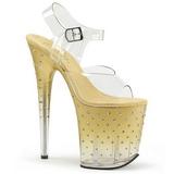 Zlato 20 cm STARDUST-808T Platformě Sandály Podpatky