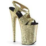 Zlato 23 cm INFINITY-930LG třpyt boty na platformě a podpatku