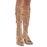 Zlato 8 cm ROMAN-10 dámské sandály gladiátorky po kolena