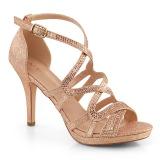 Zlato 9,5 cm DAPHNE-42 sandály s jehlovým podpatkem