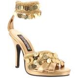 Zlato 9,5 cm GYPSY-03 Dámské Sandály Podpatky