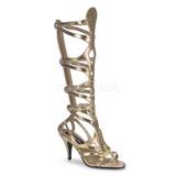 Zlato 9 cm GODDESS-12 dámské sandály gladiátorky po kolena