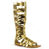 Zlato ATHENA-200 dámské sandály gladiátorky po kolena