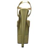 Zlato Lesk 20 cm Pleaser FLAMINGO-809-2G Vysoké Podpatky Platformě