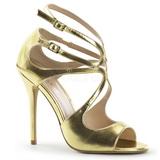 Zlato Matná 13 cm AMUSE-15 Večerní Sandály s podpatkem