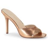Zlato Růžové 10 cm CLASSIQUE-01 nízký podpatek pantoflicky dámské