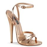 Zlato Růžové 15 cm DOMINA-108 fetiš boty na podpatku