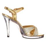 Zlato Třpyt 12 cm FLAIR-419G Dámské Sandály Podpatky