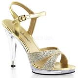 Zlato Třpyt 12 cm FLAIR-419G sandály vysoký podpatek